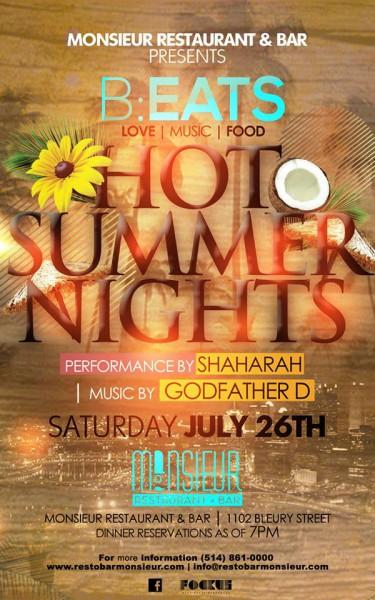 B:EATS Hot Summer Nights Edition Monsieur Restaurant + Bar