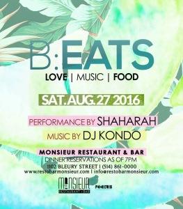 B:EATS Shaharah Mike Steven Monsieur Restaurant + Bar DJ Kondo