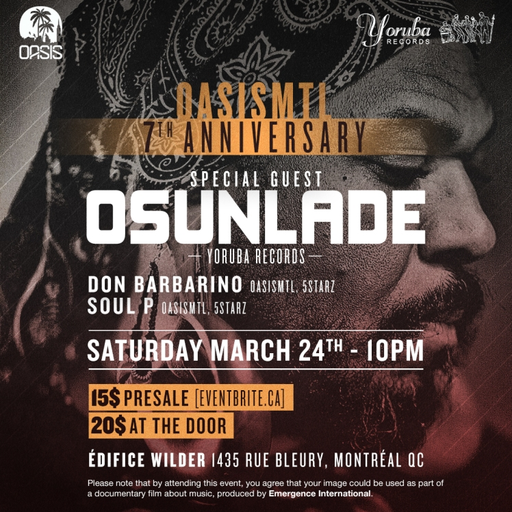 Oasis Mtl 7th Anniversary Osunlade Don Barbarino Soul P